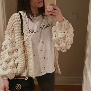 """Sweaters - 🔃 WISHLET """"Snow White"""" Puff Sleeve Knit Cardigan"""